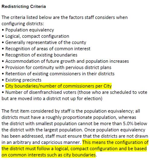 Redistricting criteria